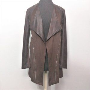 INSIGHT Faux Suede Open Front Long Draped Jacket